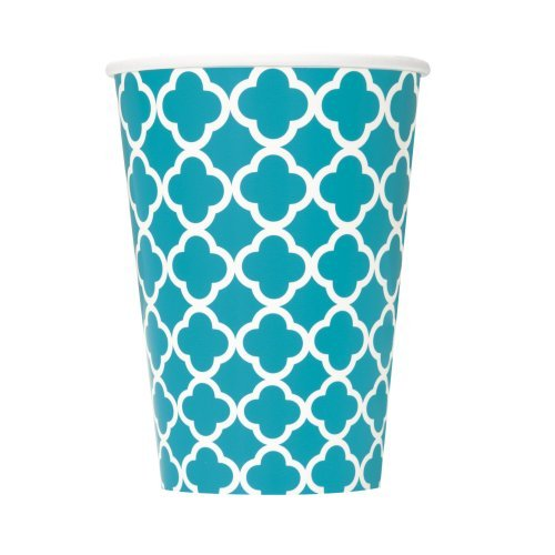12oz Teal Quatrefoil Paper Cups, 6ct