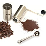Kobblestone Manual Ceramic Burr Coffee Grinder Including Spoon - Mini Portable Coffee Bean Mill Stainless Steel, Aeropress Compatible