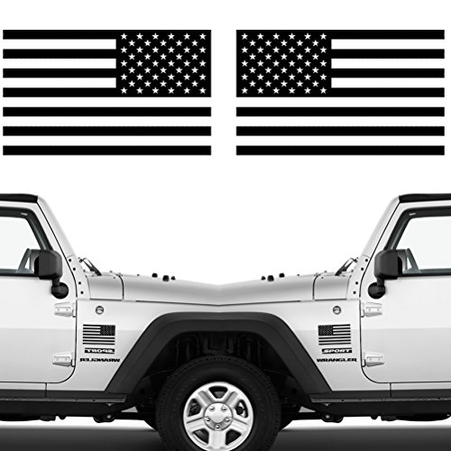 (CREATRILL Die Cut Subdued Matte Black American Flag Sticker 3