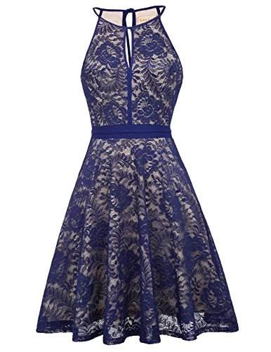 Women Cute Pin Up Lace Formal Prom Dress Navy Blue S KK638-3