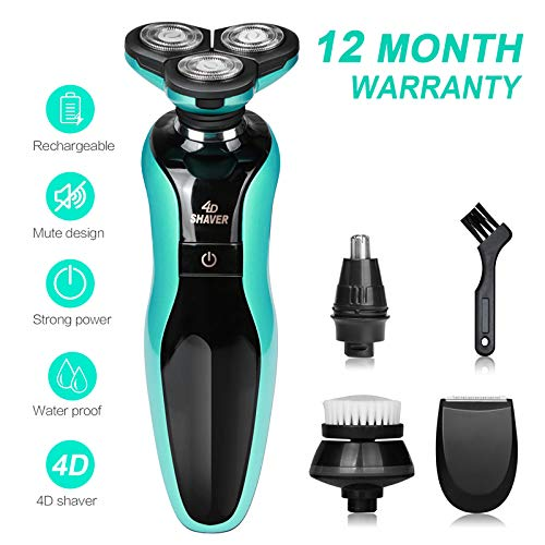 DAMONING Electric Shaver, 4D Rechargeable IPX7 Waterproof 4 in 1 Men s Rotary Shavers Wet and Dry Electric Shaving Razors with Pop-up Trimmer blue