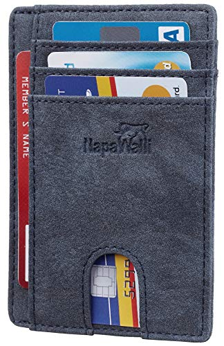 (Toughergun RFID Blocking Minimalist Genuine Leather Slim Front Pocket Wallet U (Chelsea Blue))