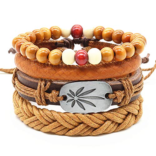 jfcn-e 4pcs/Set Handmade Vintage Female Homme Male Punk Wood Bead Charm Men Leather Bracelet for Women Jewelry,Style 8 from jfcn-e