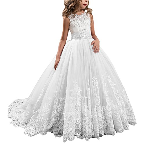 Princess White Long Girls Pageant Dresses Kids Prom Puffy Tulle Ball Gown US 8 -