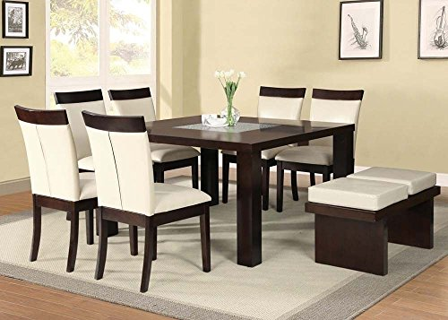 - Acme 71035_KIT Keelin Espresso Finish & Crackle Gl & Beige PU Dining Table Set