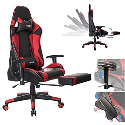 OHAHO Gaming Chair Racing Style Office Chair Adjustable Massage Lumbar Cushion Swivel Rocker Recliner Leather High Back Ergonomic Computer Desk Chair with Retractable Arms and Footrest
