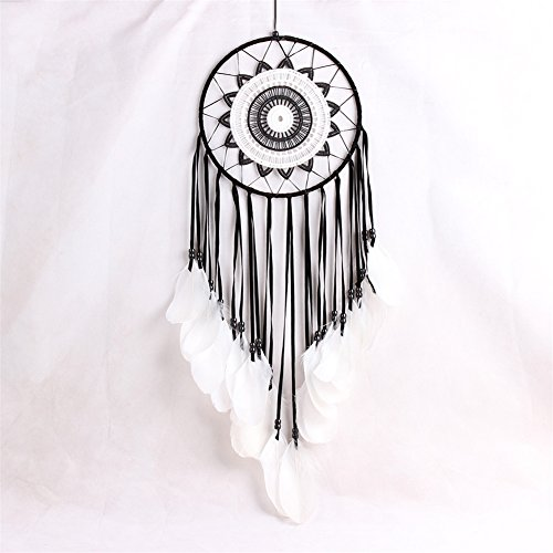 LingStar Handmade Traditional White Feather Dream Catcher Wall Hanging Car Hanging Decoration Ornament Gift Black