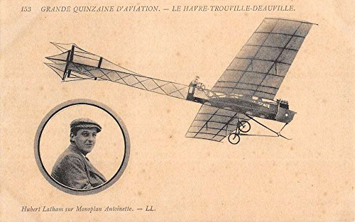 Early Airplane Latham Monoplane Havre Trouville Deauville Postcard K68532