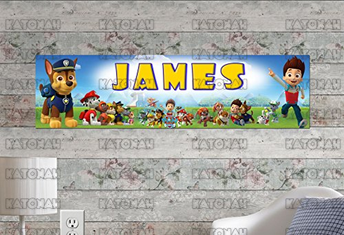 Customized Name Painting Paw Patrol Poster With Your Name On It Personalized Banner ()