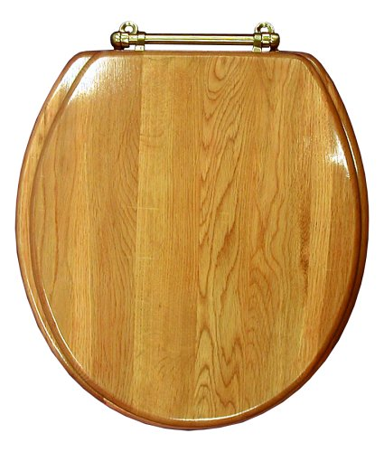 LDR 050 1750 Elongated Wood Toilet Seat with Polished Brass Hinges, Oak