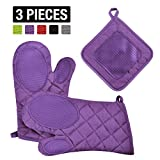 VEEYOO Cotton Oven Mitts Pot Holders Set - Kitchen Silicone Oven Mitt Heat Resistant, Non-slip Grip Oven Gloves Potholder 3 Packs Cooking, Baking & BBQ, Purple