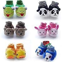 Lukzer 1 Pair New Born Baby Unisex Cartoon Socks (Random Design & Color) for Both Baby Boys and Baby Girls (Random Colour)/ Unisex Newborn Baby Socks Cartoon Socks/Baby Socks