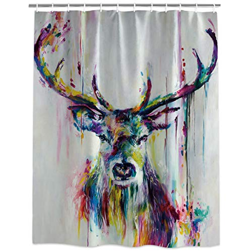 HomeCreator Extra Long Fabric Bath Shower Curtains Deer Oil Painting Wildlife Nature Artful Print Water, Soap and Mildew Resistant Curtains Sets with Hooks 48