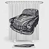 iPrint Cars Shower Curtain And Floor Mat Combination Set Hand Drawn Vintage Vehicle with Detailed Front Part Hood Lamps Rear View Mirror For decoration and daily use Grey Blue Grey
