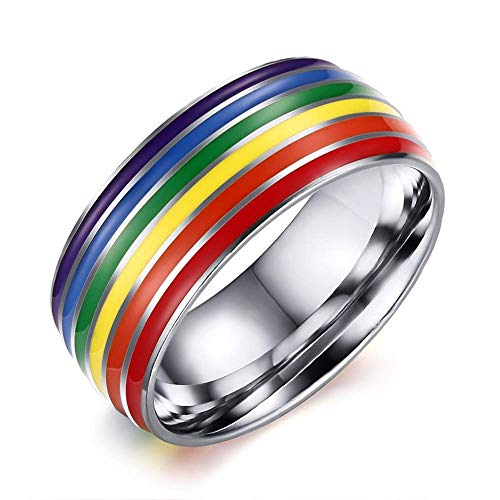 - TOVE Gold Color Plated Stainless Steel Enamel Rainbow Pride Ring for Lesbian & Gay Wedding Engagement Band
