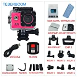 TEBERBOOM Sport Action Camera, Waterproof Sport Camera S2R WiFi 4k Ultra HD 170 Degree Wide View Angle,100ft Underwater and Mounting Accessories Kit with Wireless Control (Pink)