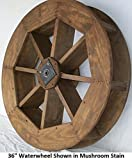 Amish-Made Decorative Waterwheel - 36'' Diameter, Redwood Stain