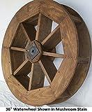 Amish-Made Decorative Waterwheel - 36'' Diameter, Redwood Stain