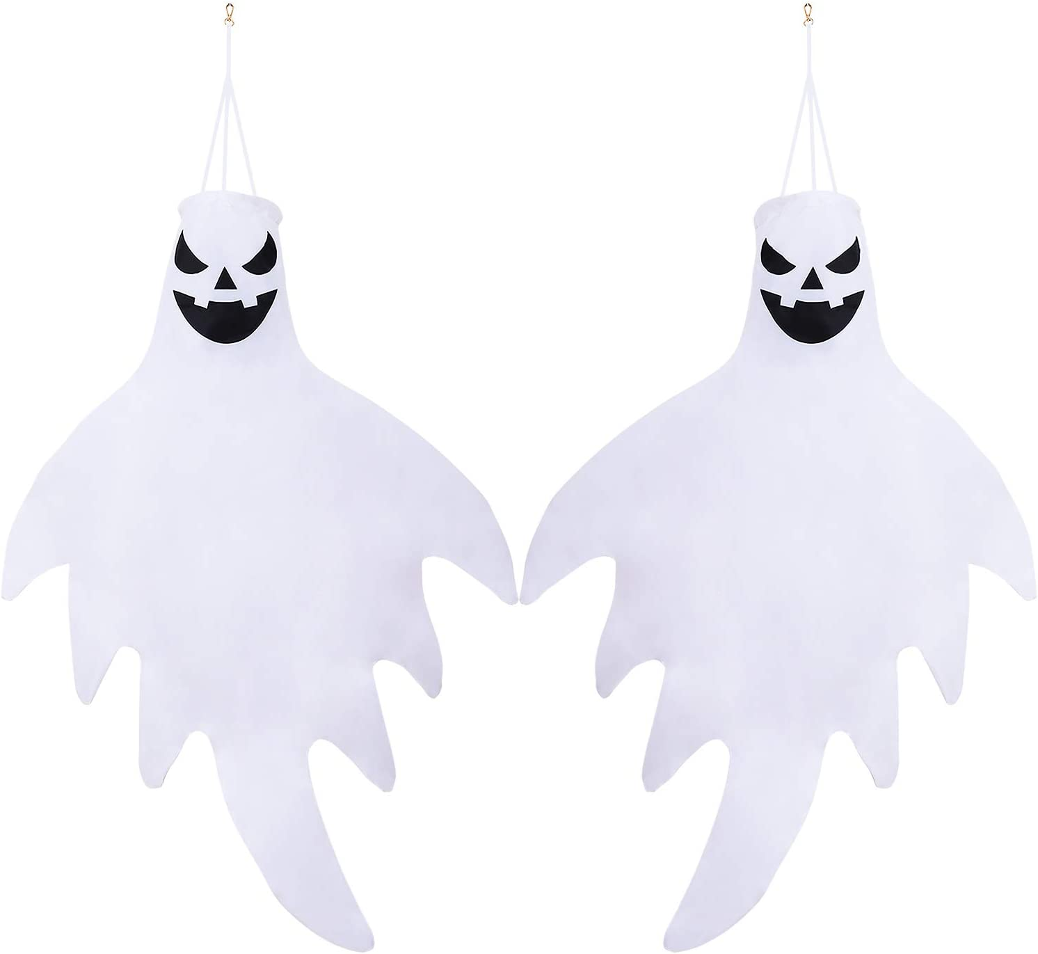 URATOT 2 Pieces Ghost Windsock Flag Halloween Hanging Decorations Hanging Ghost Includes Hanging Clip for Indoor Outdoor Yard Patio Lawn Garden Party 43 Inches