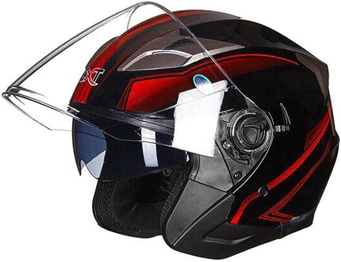 ZPF Casco Rojo Negro Brillante Motocicleta Masculina Medio Casco ...