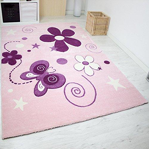 Moderner Kinder Teppich handgeschnittene Konturen Sterne Blumen Schmetterlinge Farbe Pink Lila - VIMODA; Maße: 80x150 cm