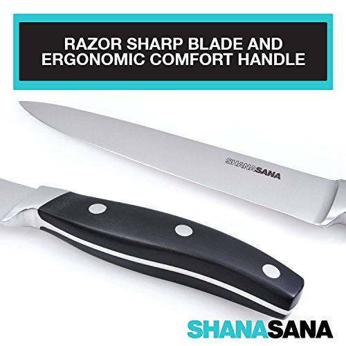 """Shanasana 8"""" Carving Knife (PROFESSIONAL GRADE STAINLESS STEEL) Ultimate Meat Cutting Knife - Perfect for Slicing Ham, Turkey, Chicken, Brisket, Beef, and More!"""