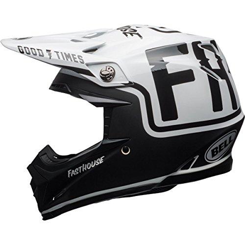 Bell Moto-9 MIPS Fast house Off-Road Motorcycle Helmet (Gloss/Matte Black/White, Large) (Velocity Off Road Helmet)