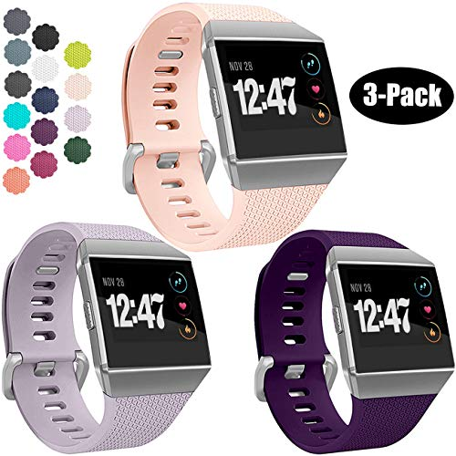 Wepro Bands Compatible with Fitbit Ionic SmartWatch, Watch Replacement Sport Strap for Women Men Kids, Small, Plum, Lavender, Blush Pink