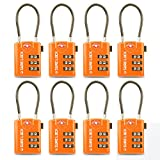 TSA Compatible Travel Luggage Locks, Inspection Indicator, Easy Read Dials - 1, 2 & 4 Pack (Large, Orange 8 Pack)