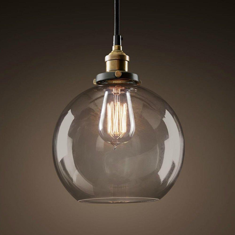 E27 Lámpara colgante Antiguo Bulbo de humo-bola con campana de cristal ahumado Nostalgia 40W bombilla incluida [Clase de eficiencia energética A+++] EasyGame