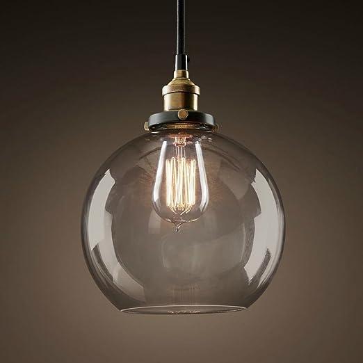 E27 Lámpara colgante Antiguo Bulbo de humo-bola con campana ...