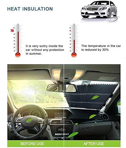 MagiqueW Car Windshield Sun Shade,Retractable Car Sun Shade for Windshield 65CM//25.6IN(Front) Protect Vehicles Interior from Heat and Sunlight