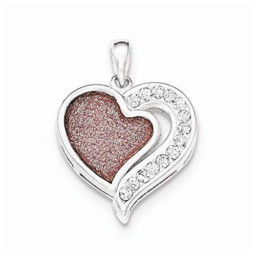 Sterling Silver Cubic Zirconia Pink Laser Glitter Texture Heart Pendant ()
