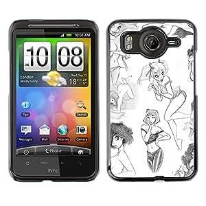 Caucho caso de Shell duro de la cubierta de accesorios de protección BY RAYDREAMMM - HTC G10 - Design Sexy Sketch White Art
