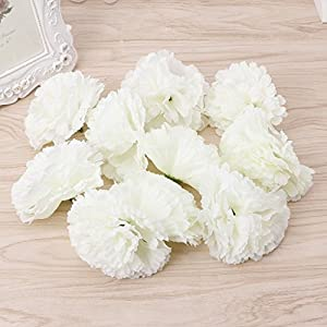 SimpleLife Artificial Flowers, Fake Flowers Cloth Plastic Artificial Fake Carnation Flower 10 Heads Bridal Wedding Bouquet for Home Garden Party Wedding Decoration 2