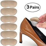 Beautulip Heel Grips Adhesive Back of Heel Cushions Anti-Slip Foam Inserts Heel Protectors - Pads for Shoes Too Big Pack of 6 (Light Beige)