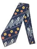 Dancing Couple Vintage Tie Jacquard Weave Wide Kipper Necktie Blue/White/Orange