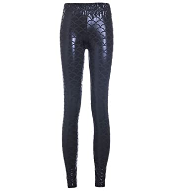 cc35418c77d99 VATIGUNSHOP Women Shiny Fish Scale Mermaid Leggings Printed Plus Size Pants  Black S-4XL
