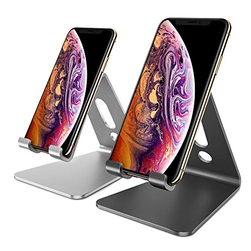 Holder Desktop Stand (OMOTON [2 Pack] Cell Phone Stand Phone Holder for Desk, Desktop Cell Phone Stand Compatible for All iPhone and Android Smartphone(Black & Silver))