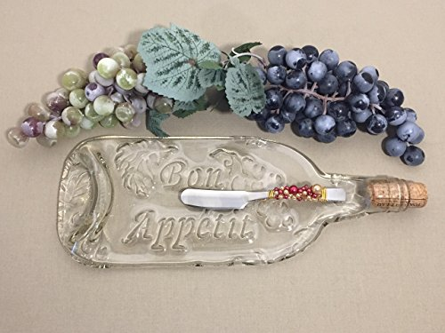 - Recycled Wine Bottle Bon Appetit Cheese Tray with Decorative Spreader