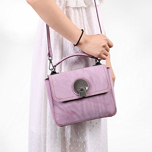 Cuir Petit Violet Purple À Rose à Sacs Véritable Diagonale Femmes Main Portefeuille Rétro en Sac WKNBEU Sac Bandoulière Mode Mini U0BWqI