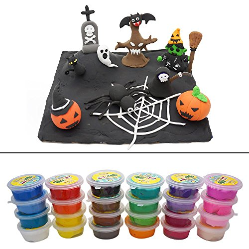 Easy Halloween Kids Crafts (OVI Colorful Kids Ultra Light Modeling Clay Magic Air Dry Clay Artist Studio Toy 24 Bright Color?No-Toxic Modeling Clay, Creative DIY Crafts,DIY Halloween Decor)
