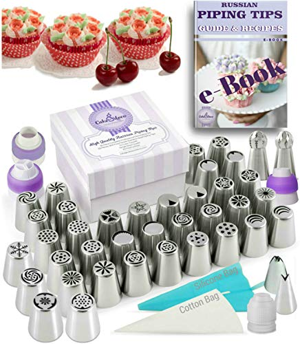 Russian Piping Tips Set - 82 pcs Cake Cupcake Decorating Supplies Kit - 40 Icing Frosting Nozzles (2 Ball and 2 Leaf Tips) - 4 Couplers - 36 Baking Pastry Bags - Silicone Bag - Cotton Bag - Gift Box ()