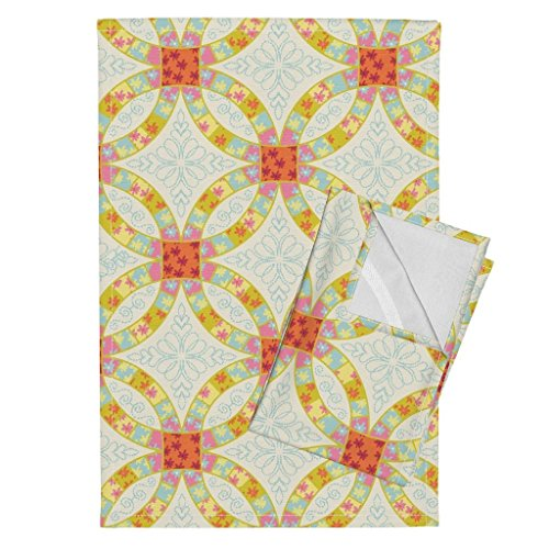 - Roostery Quilt Tea Towels Ditsy Wedding Ring Fat Quarter by Chantal Pare Set of 2 Linen Cotton Tea Towels