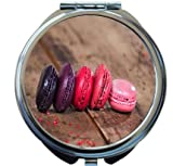 Rikki Knight French Macaroons On A Wooden Rustic Table Design Round Compact Mirror