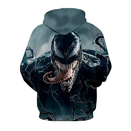 FriBro Men's Hoodie Sweatshirt Venom sweaterSports Activities Hoodie Cotton Keep Warm Sweater Black (D Section, L)