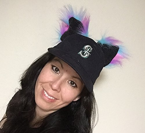 [Handmade All-in-one Kawaii Freedom Animal Ears, Multi-functional Black fleece Pink Blue Purple Faux Fur, Japanese Anime Cosplay Pet Play Accessory, Original] (All Black Costume Ideas For Halloween)