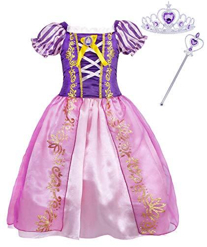 Jurebecia Rapunzel Dress Princess Girls Costume Short Sleeve Kids Clothes Party Purple Size 4T -