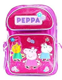 """Backpack - Peppa Pig - Canvas Pink w/Friends 16"""" New 139418"""