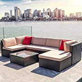 Devoko 7 Pieces Patio Furniture Sets All-Weather Outdoor Sectional Sofa Manual Weaving Wicker Rattan Patio Conversation Set with Cushion and Glass Table (Brown)